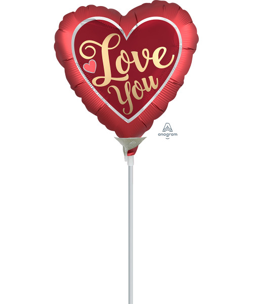 [Love] Mini Satin Sangria & Gold Love You Foil Balloon with stick (9inch)
