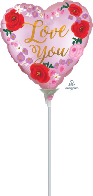[Love] Mini Satin Love You Painted Floral Foil Balloon 9inch with Stick (A40585)