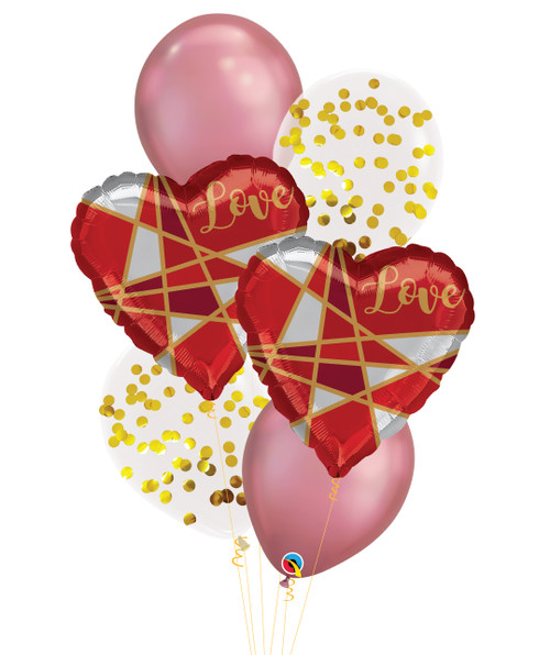 [My Love, My Valentine] Geometric Lines Love Chrome Mauve Confetti Balloons Bouquet