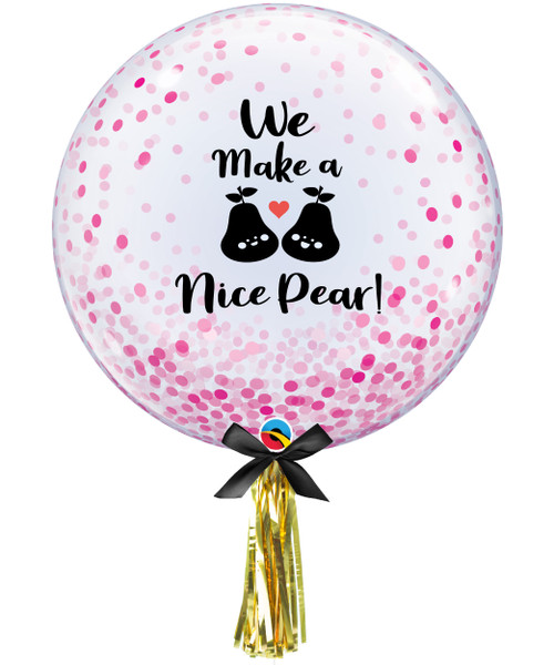 "[My Love, My Valentine] We Make a Nice Pear! 24"" Transparent Confetti Dots Printed Balloon - Pink Confetti Dots"