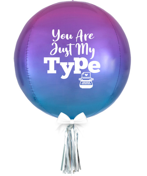 "[Happy Valentine's Day] Personalised 16""/41cm Sphere Shaped Balloon (Ombré Red & Blue) - You Are Just My TYPE"