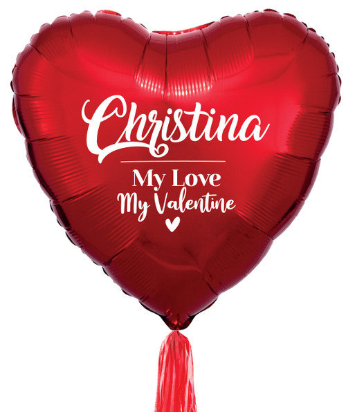 "[My Love, My Valentine] Romantic 32"" Giant Heart (Metallic Red) Styled with 5 Tassel Tail - Personalised Name My Love, My Valentine"