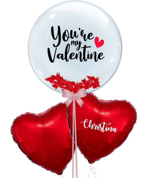 "[My Love, My Valentine] 24"" Personalised Name Crystal Clear Red Feathers Balloon - You're My Valentine"
