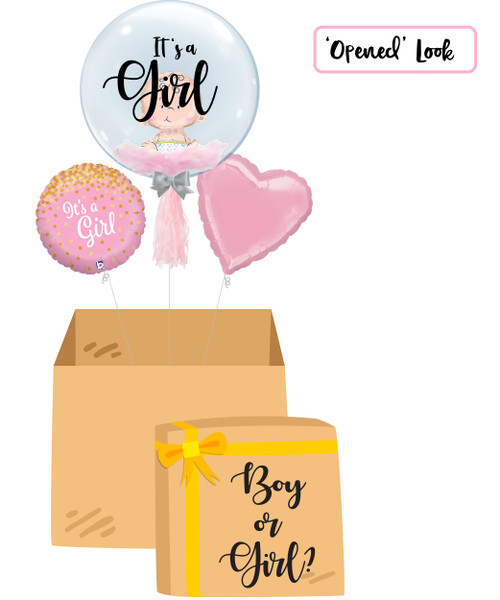"""[Gender Reveal Balloon Surprise Box] - 24"""" Crystal Clear Transparent Balloon - Mini Sitting Baby Balloon Stuffed (It's a Girl)"""