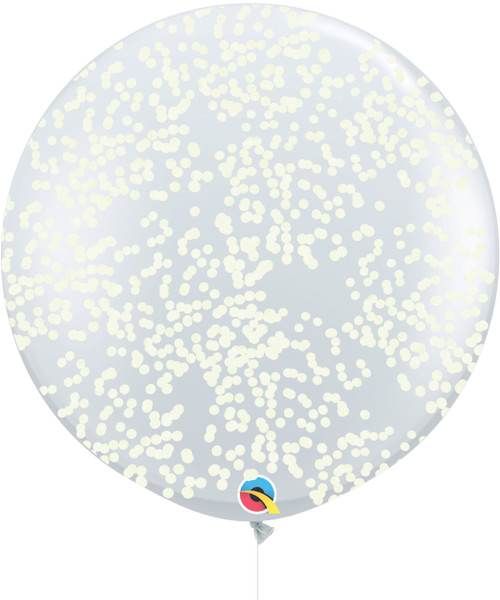 36'' Jumbo Perfectly Round Balloon - Round Confetti (1cm) Cream