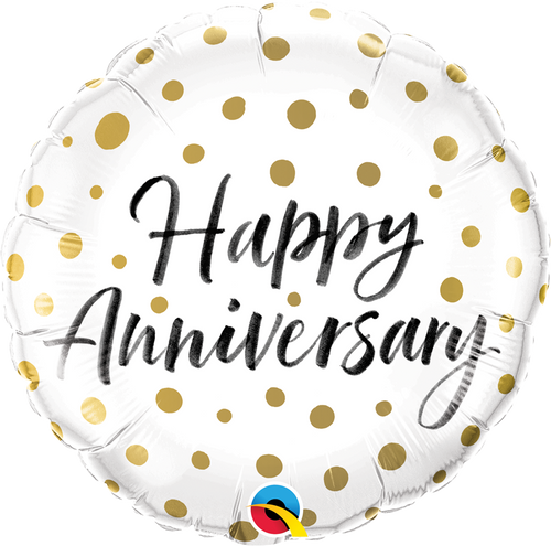 Happy Anniversary Gold Dots Foil Balloon (18inch)