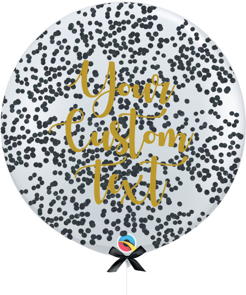 36'' Personalised Jumbo Perfectly Round Balloon - Round Confetti (1cm) Black