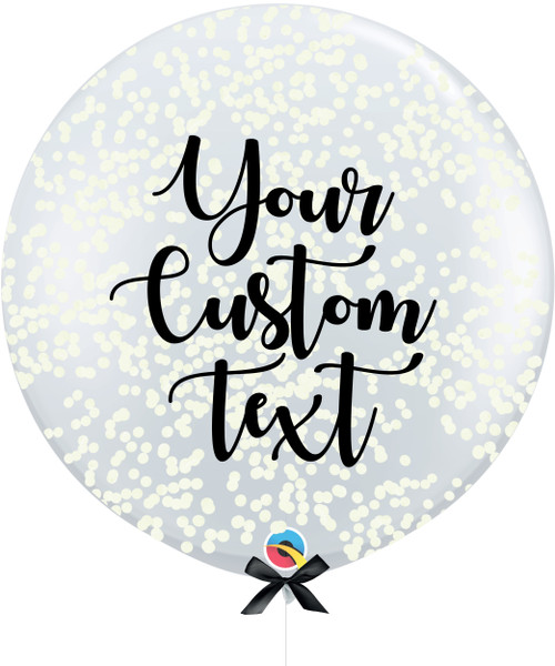 36'' Personalised Jumbo Perfectly Round Balloon - Round Confetti (1cm) Cream