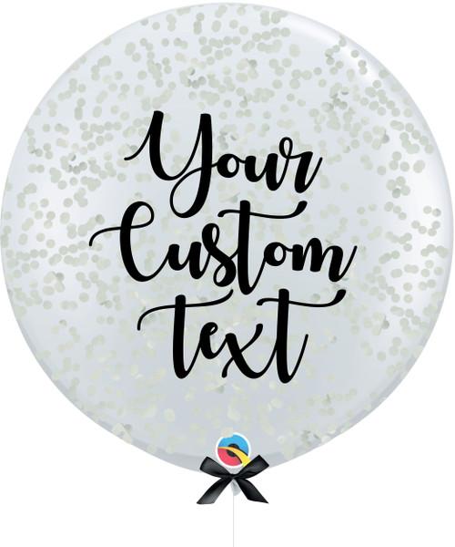 36'' Personalised Jumbo Perfectly Round Balloon - Round Confetti (1cm) Grey