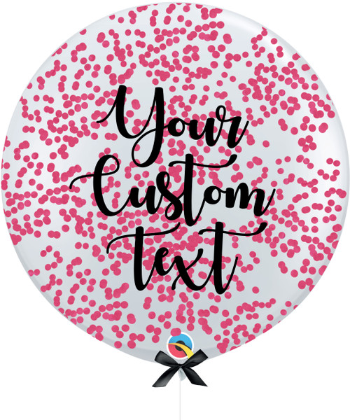 36'' Personalised Jumbo Perfectly Round Balloon - Round Confetti (1cm) Hot Pink