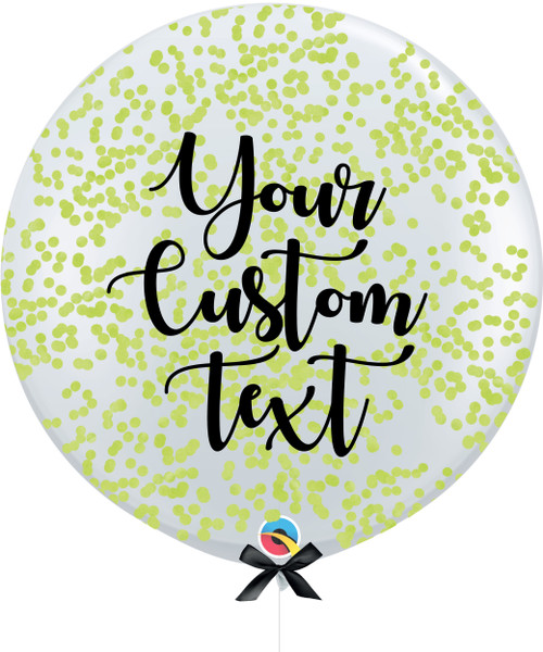 36'' Personalised Jumbo Perfectly Round Balloon - Round Confetti (1cm) Leaf Green