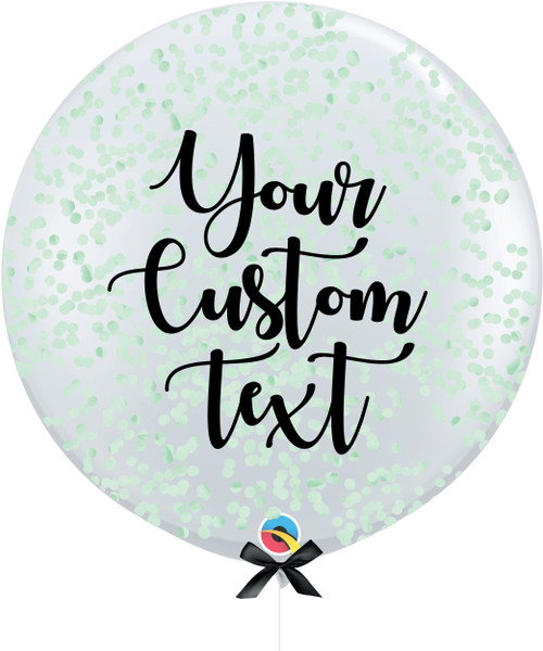 36'' Personalised Jumbo Perfectly Round Balloon - Round Confetti (1cm) Mint
