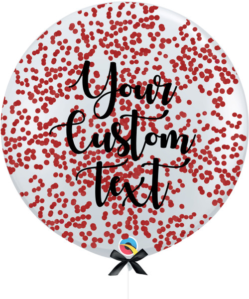 36'' Personalised Jumbo Perfectly Round Balloon - Round Confetti (1cm) Red