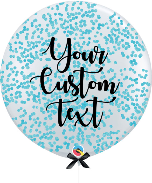 36'' Personalised Jumbo Perfectly Round Balloon - Round Confetti (1cm) Sky Blue