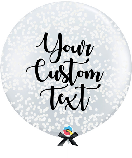 36'' Personalised Jumbo Perfectly Round Balloon - Round Confetti (1cm) White
