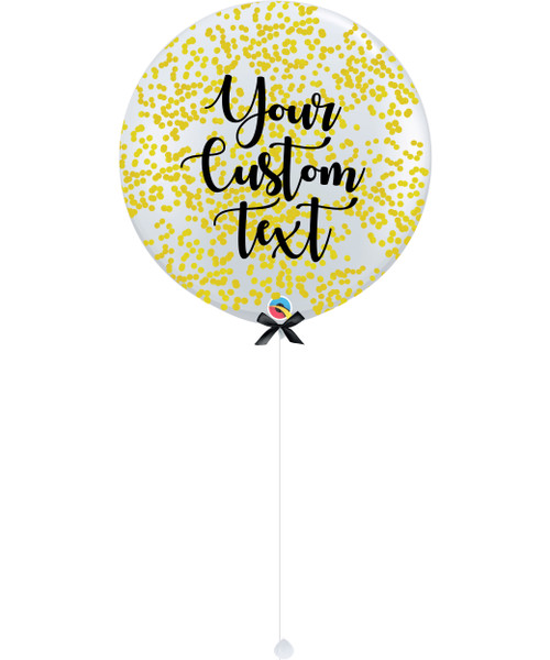36'' Personalised Jumbo Perfectly Round Balloon - Round Confetti (1cm) Yellow