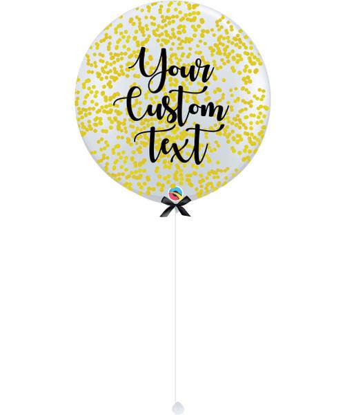 36'' Personalised Jumbo Perfectly Round Balloon - Round Confetti (1cm) Yellow