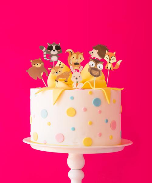 Woodland Animals Cake Toppers (8pcs)