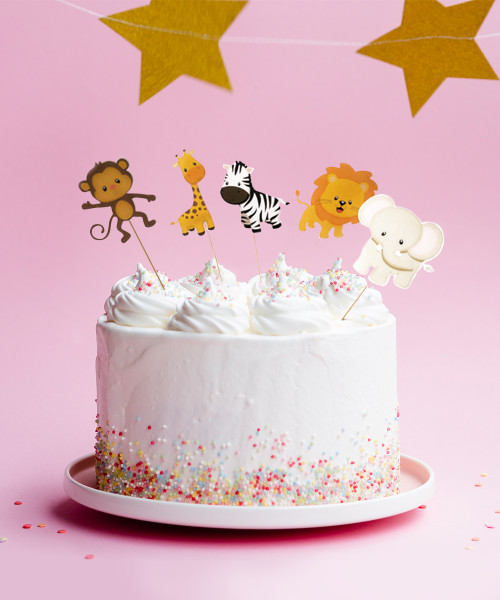 Safari Animals Cake Toppers (5pcs)