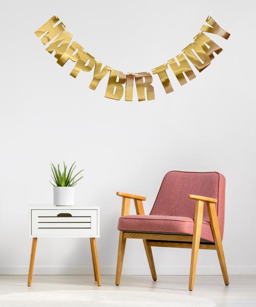 Block Script Happy Birthday Bunting (2 meter) - Reflective Gold