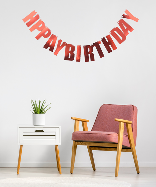 Block Script Happy Birthday Bunting (2 meter) - Reflective Red