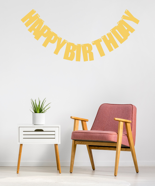 Block Script Happy Birthday Bunting (2 meter) - Glittery Gold