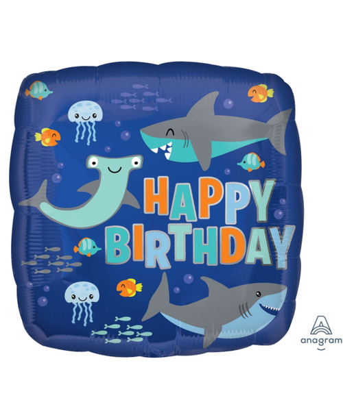 [Sea Creature] Happy Birthday Sharks Foil Balloon (18inch)