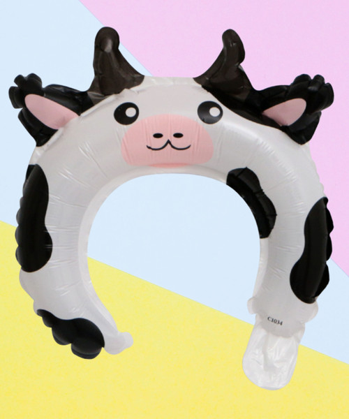 Trendy Animal Balloon Headband - Moo Cow