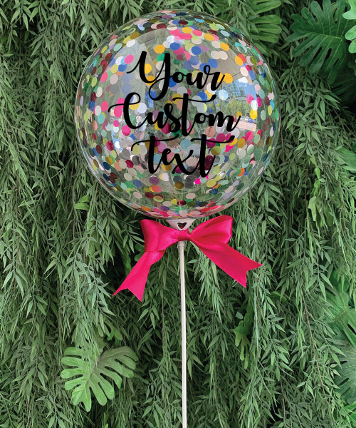 "9"" Personalised Aqua Balloon On Stick - Mini Round Confetti (1cm) Filled (25 Colors)"