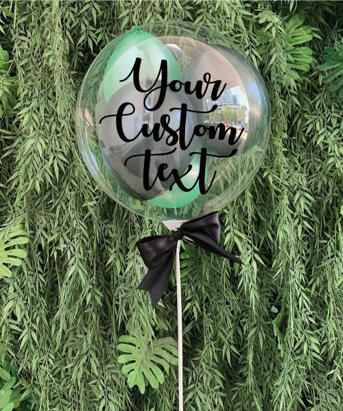 "9"" Personalised Aqua Balloon On Stick - Mini Metallic Latex Balloons Filled (22 Colors)"