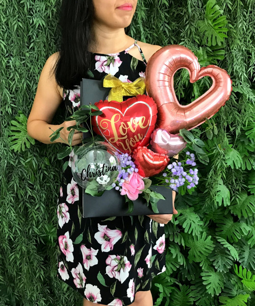 [Love] Personalised Name Balloons Bouquet Box (Black) with handle - Love You