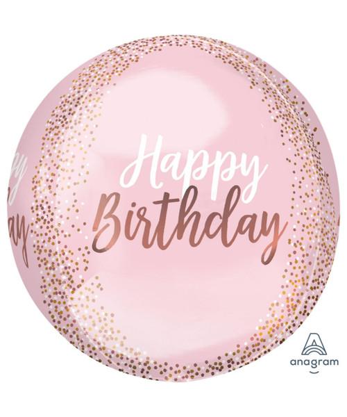 "16""/40cm Blush Birthday Orbz Sphere Shaped Balloon"