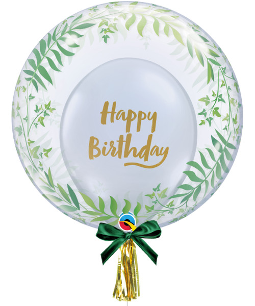 "24"" Crystal Clear Transparent Elegant Greenery Printed Balloon -  Birthday Brush Script Latex Balloon Stuffed"