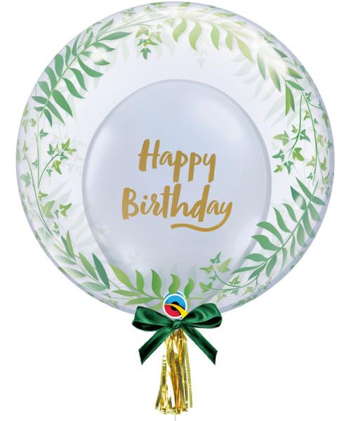 "24"" Crystal Clear Transparent Elegant Greenery Printed Balloon -  Birthday Brush Script Latex Balloon Stuffed"