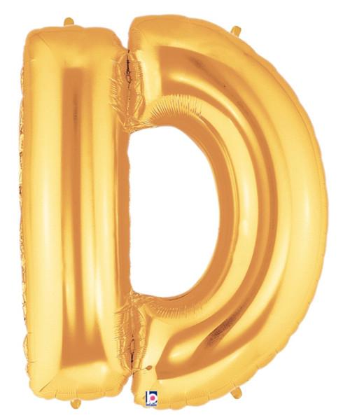"""40"""" Giant Alphabet Foil Balloon (Gold) - Letter 'D'"""