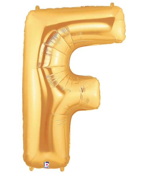 """40"""" Giant Alphabet Foil Balloon (Gold) - Letter 'F'"""