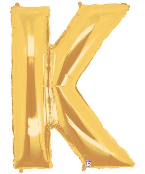 """40"""" Giant Alphabet Foil Balloon (Gold) - Letter 'K'"""