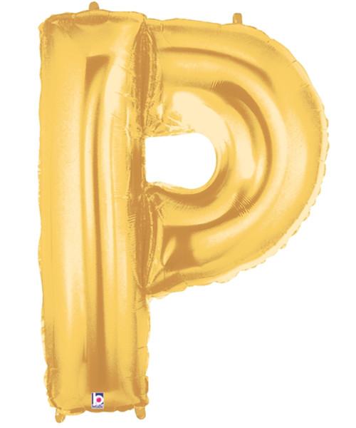 """40"""" Giant Alphabet Foil Balloon (Gold) - Letter 'P'"""