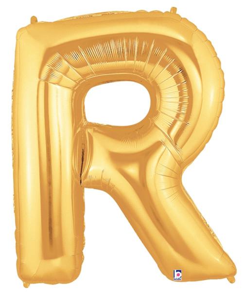 """40"""" Giant Alphabet Foil Balloon (Gold) - Letter 'R'"""