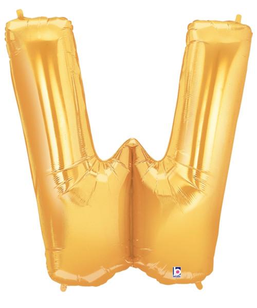 """40"""" Giant Alphabet Foil Balloon (Gold) - Letter 'W'"""