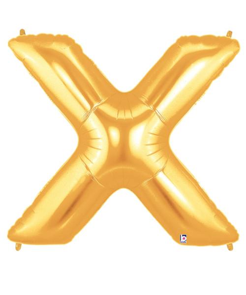 """40"""" Giant Alphabet Foil Balloon (Gold) - Letter 'X'"""