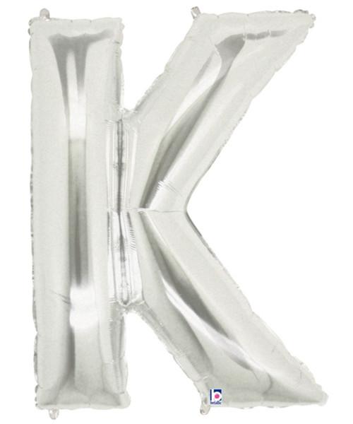 """40"""" Giant Alphabet Foil Balloon (Silver) - Letter 'K'"""