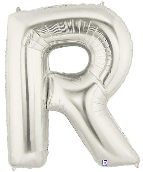 """40"""" Giant Alphabet Foil Balloon (Silver) - Letter 'R'"""