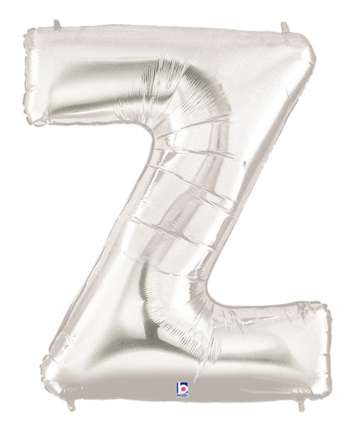 """40"""" Giant Alphabet Foil Balloon (Silver) - Letter 'Z'"""