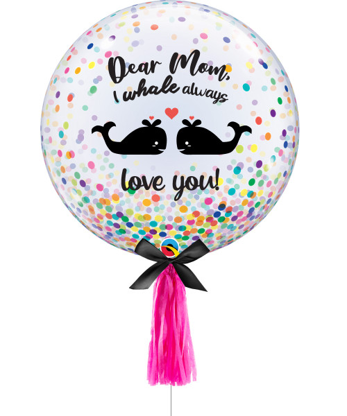 "[You're Amazing] I WHALE always love you! 24"" Transparent Colorful Confetti Dots Printed Balloon"