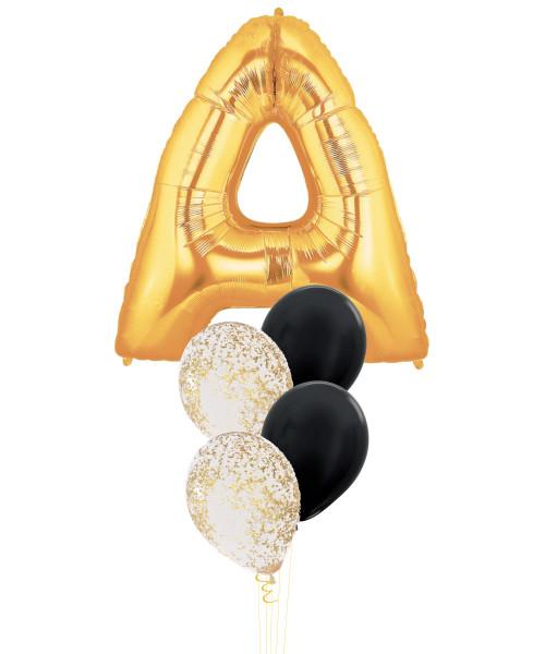 "40"" Giant Alphabet Foil (Gold) Metallic Confetti Balloons Cluster"