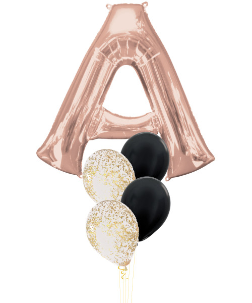 "34"" Giant Alphabet Foil (Rose Gold) Metallic Confetti Metallic Latex Balloons Cluster"