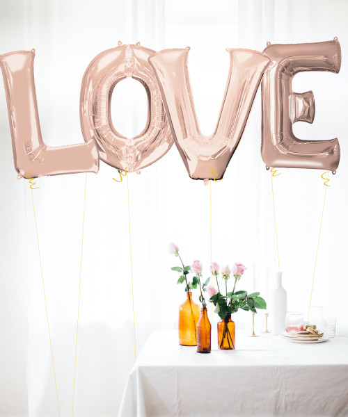 "34"" Giant Alphabet Foil Balloon (Rose Gold) - A Set of letter ""LOVE"""