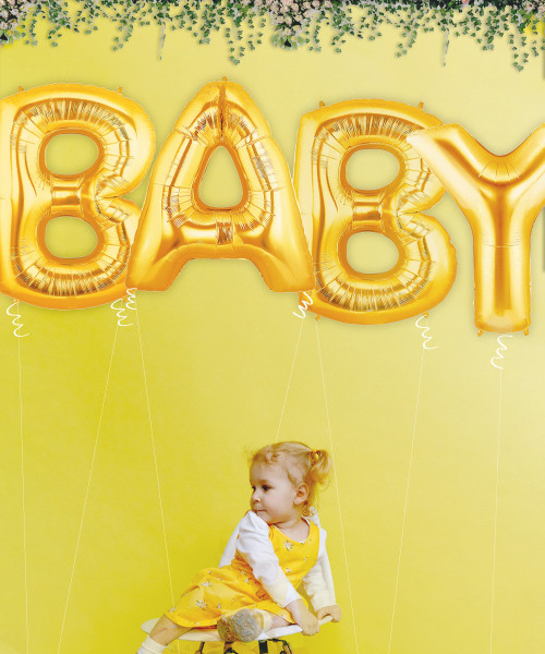 "40"" Giant Alphabet Foil Balloon (Gold) - A Set of Letter ""BABY"""