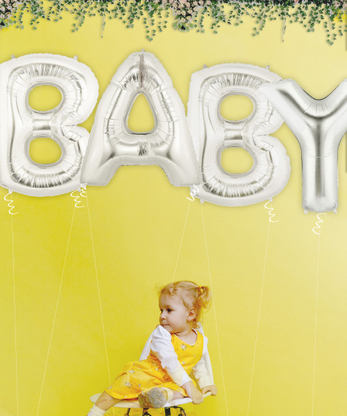 """40"""" Giant Alphabet Foil Balloon (Silver) - A Set of Letter """"BABY"""""""